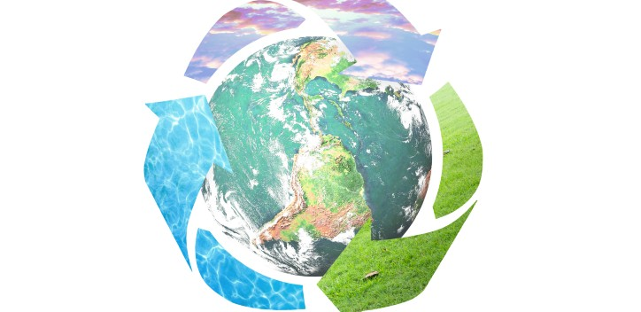 Earth with recycle arrows around it