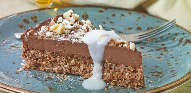 Peppermint dark chocolate torte with coconut custard