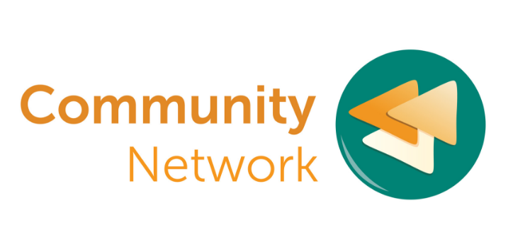 Community Network logo green and yellow with triangle shapes