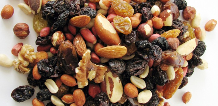 A close up of a mix of dried fruit and nuts.