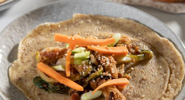 Tofu Pancakes with Plum Sauce