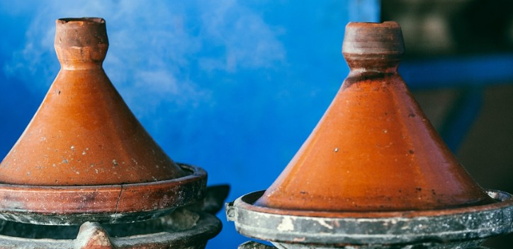 Two tagines on a table.  Photo by Maria Orlova from Pexels