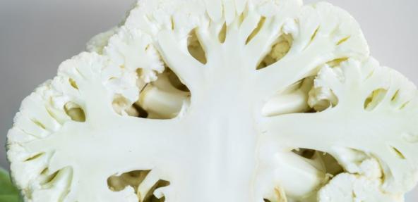 A close up of a cauliflower cut in half