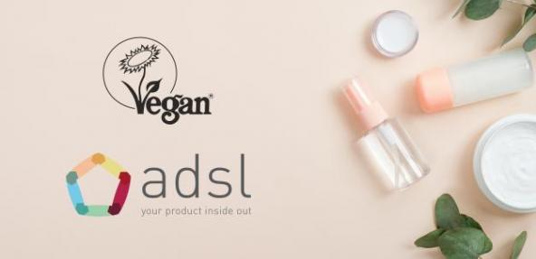 ADSL logo and Vegan Trademark logo with cosmetic products