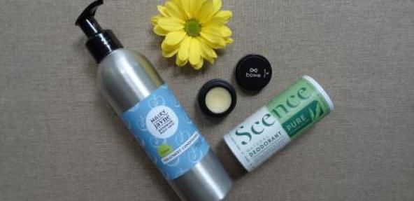 Free From Awards Winners bottle and eye cream and flower