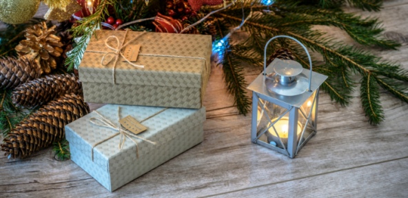 Festive gifts with a lantern.