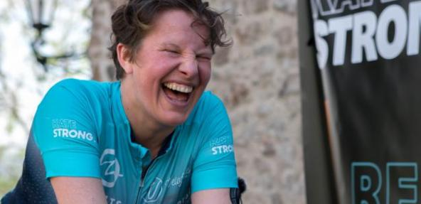 Kate Strong on bike - credit Sarah Aboubakar