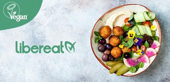 Bowl of food with LiberEat writing and Vegan Trademark Logo