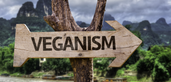 Wooden sign in rural area pointing to VEGANISM