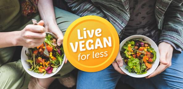 Thumbnail image looking down at two people eating vegan food out of bowls with the Live Vegan for Less campaign logo over the top