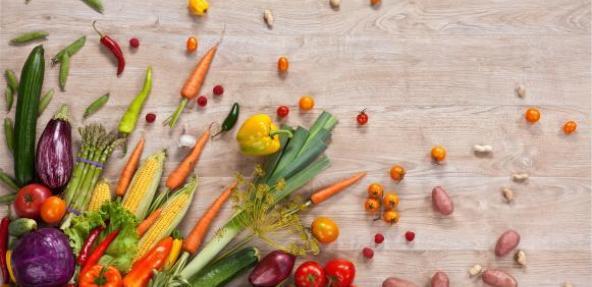 Vegetables spread across a table