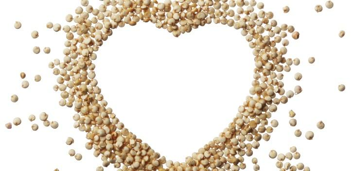 Chickpeas in a heart shape