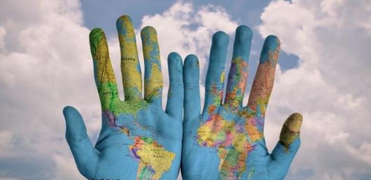hands; globe; earth; map; geography