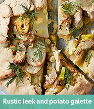 Rustic leek, potato and artichoke galette recipe