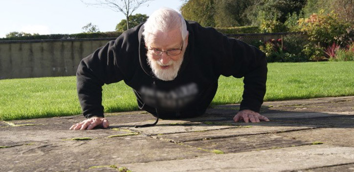 Paul Youd performing a press up