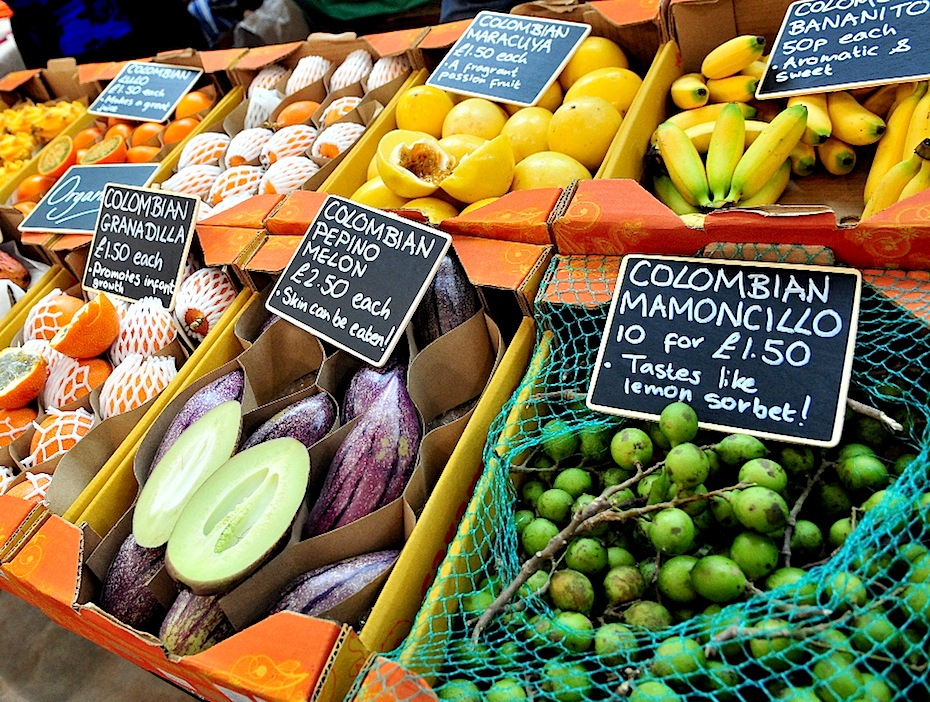 Fruit and veg market stalls