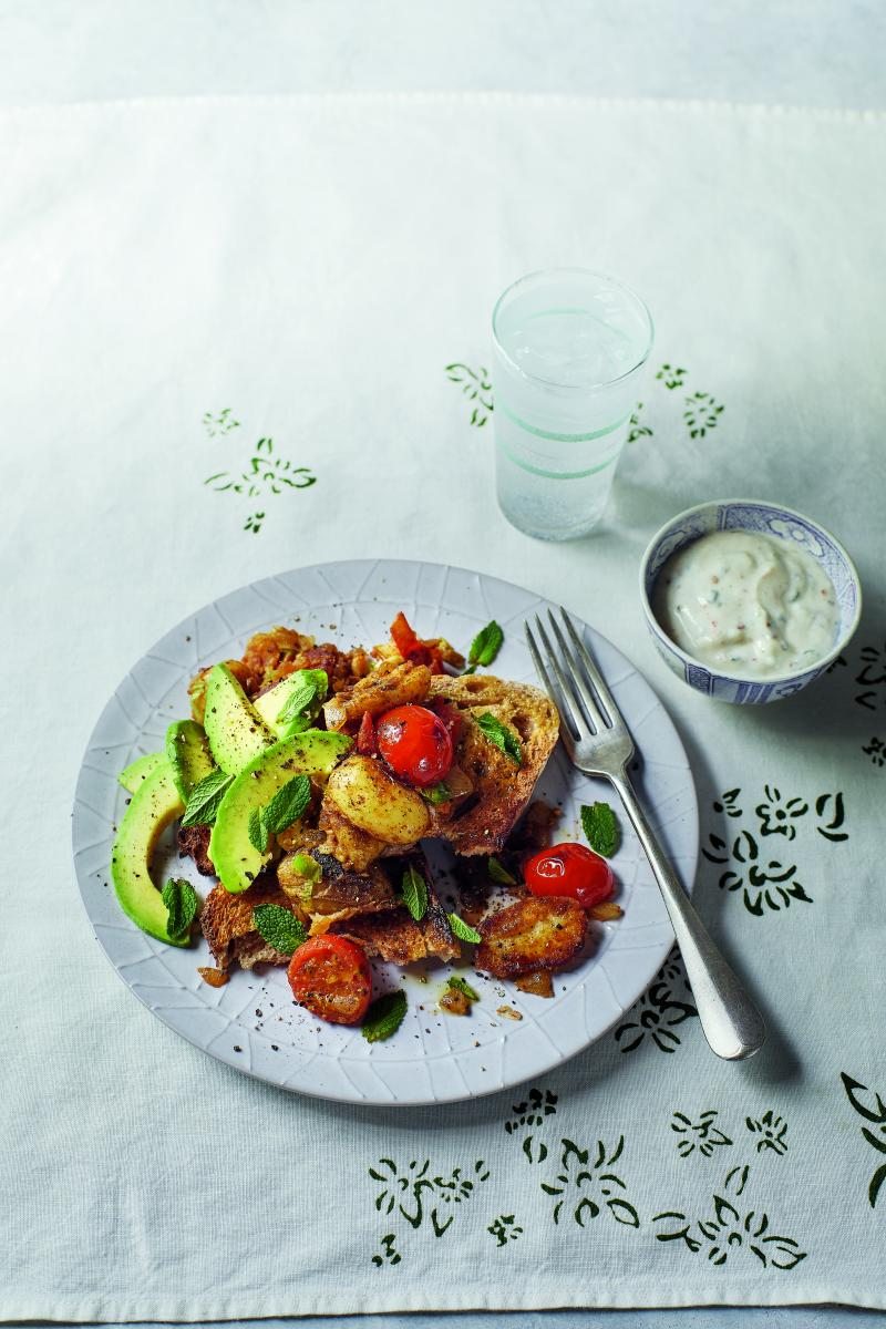 Indian-spiced potatoes and raita on toast by Fearne Cotton against a white cloth background