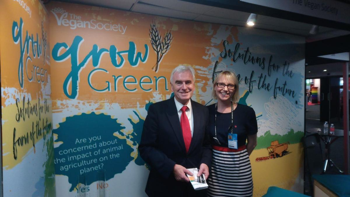 Shadow Chancellor of the Exchequer John McDonnell with The Vegan Society's Louise Davies at last year's Labour Party Conference