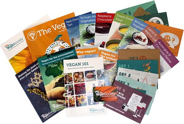 Go Vegan Pack includes Vegan 101, The Vegan magazine, recipes leaflets, plate up for the planet, info and a membership card.