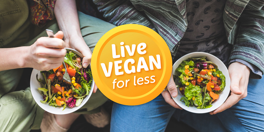 Image looking down at two people eating vegan food out of bowls with the Live Vegan for Less campaign logo over the top