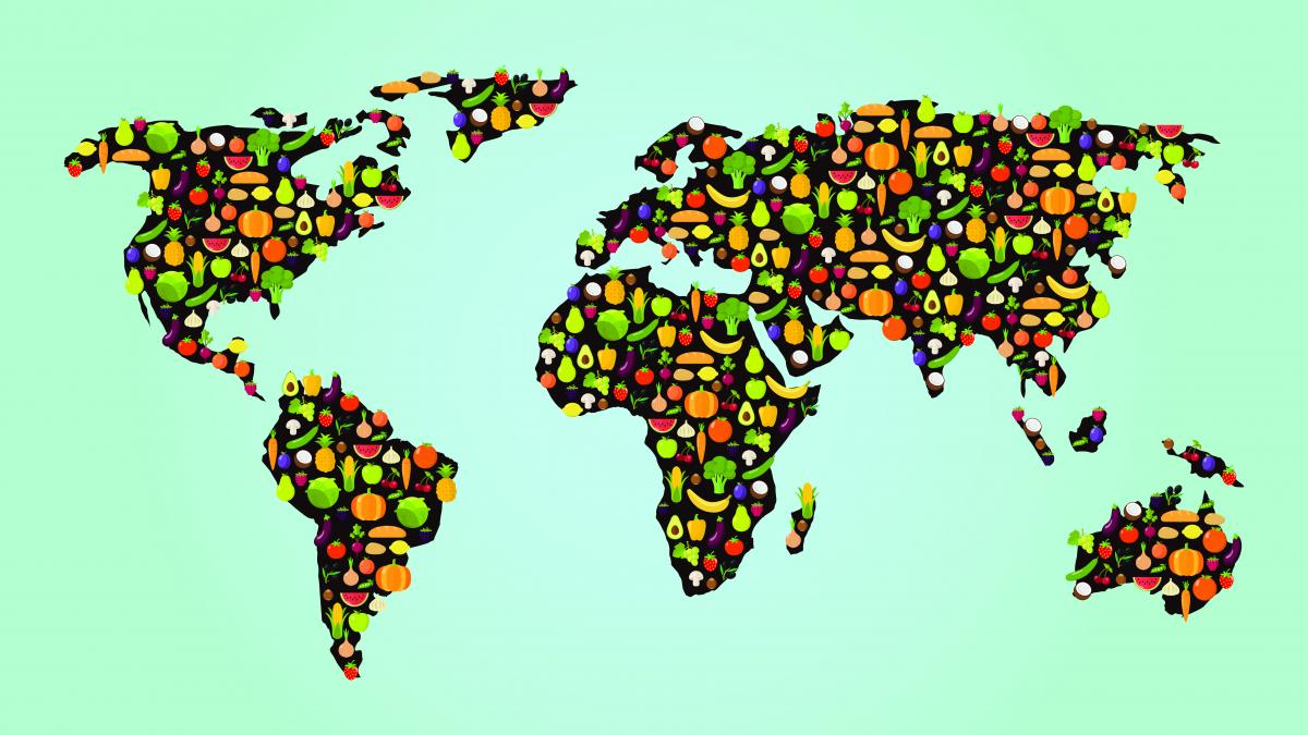 World map made of veg