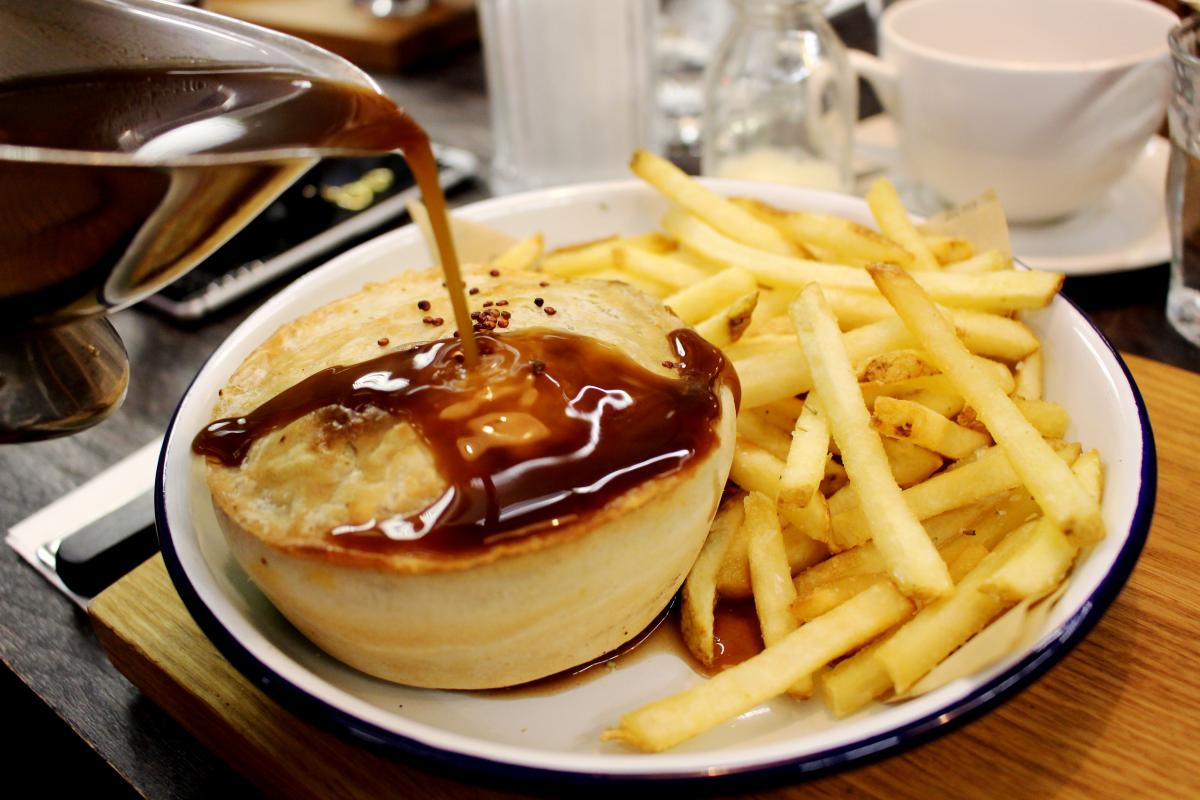 Pieminister pie and chips with gravy