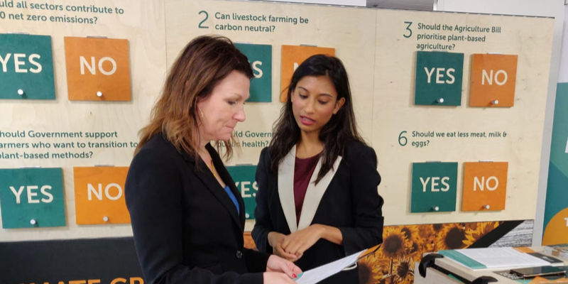Our campaigns and policy officer, Sabrina Ahmed, in conversation with the Shadow Environment Minister, Sue Hayman MP.