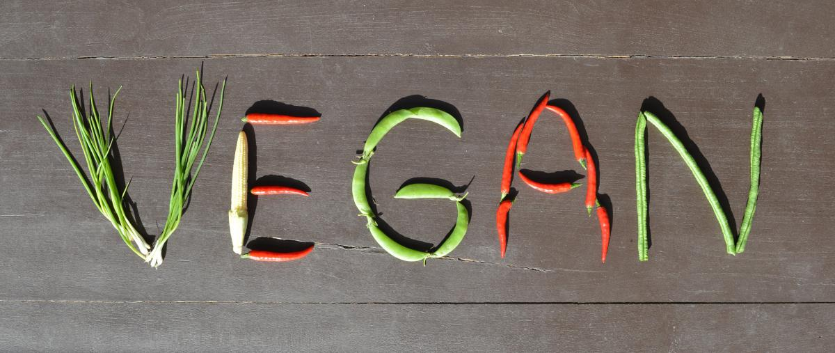 vegan written in vegetables