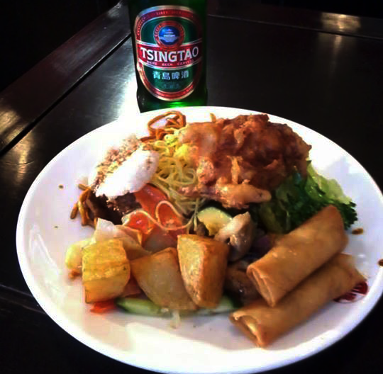 Spring rolls, 'prawn' crackers, potatoes, curry, rice, noodles and more