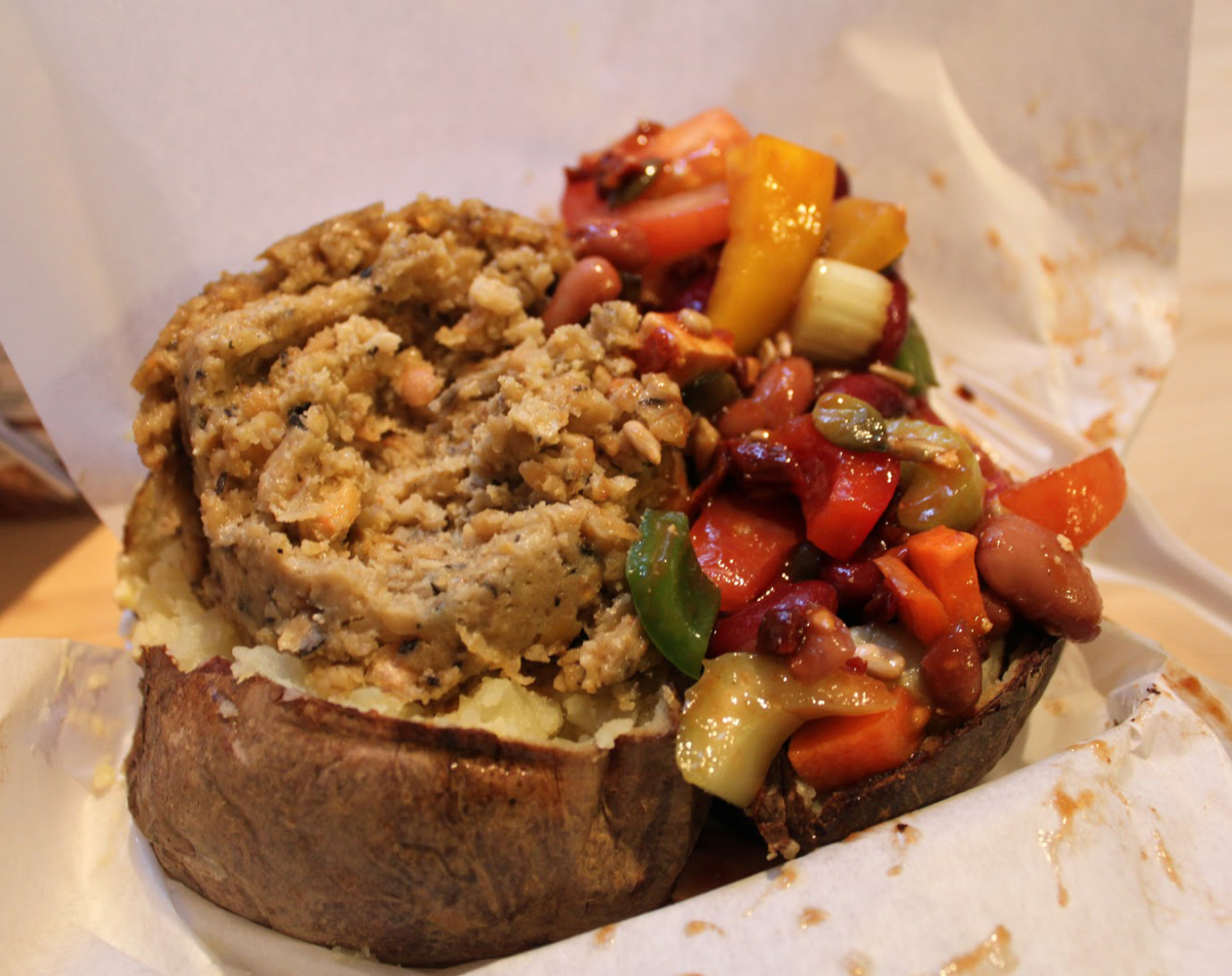 A 'small' haggis and tofu salad filled baked potato