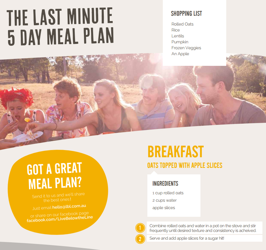 The Live Below The Line meal plan